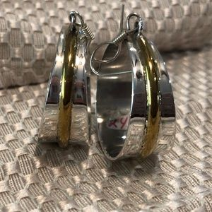 Authentic silver and gold hoop earrings